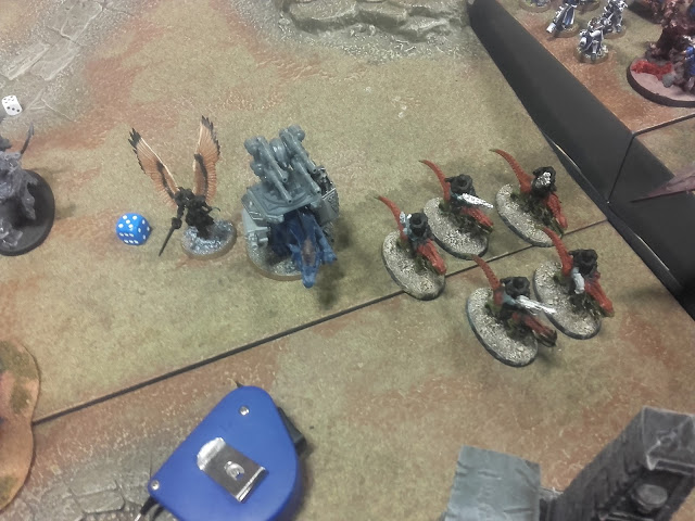 Warhammer 40K Battle report: Dino-riders(Sisters of Battle) facing them.