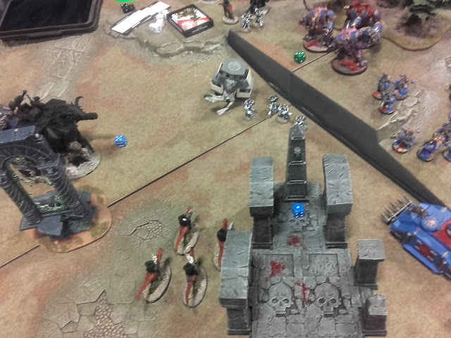 Warhammer 40K Battle report: The survivors of the shooting from the Knight, bikes and melta squad jump in their Rhino and back up a touch...