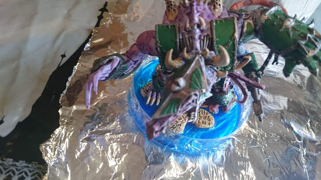 "Finished Hellbrute ""Helly"" standing in its still drying water effects base."