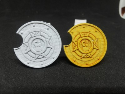 Round custom shields.