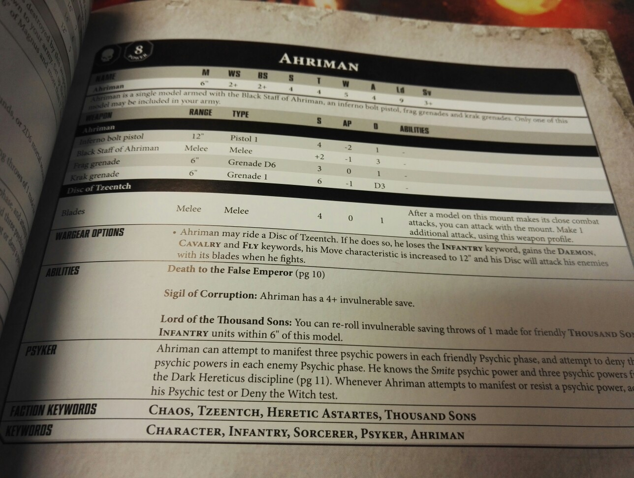 Ahriman and Magnus the Red stats revealed - Stepping Between Games