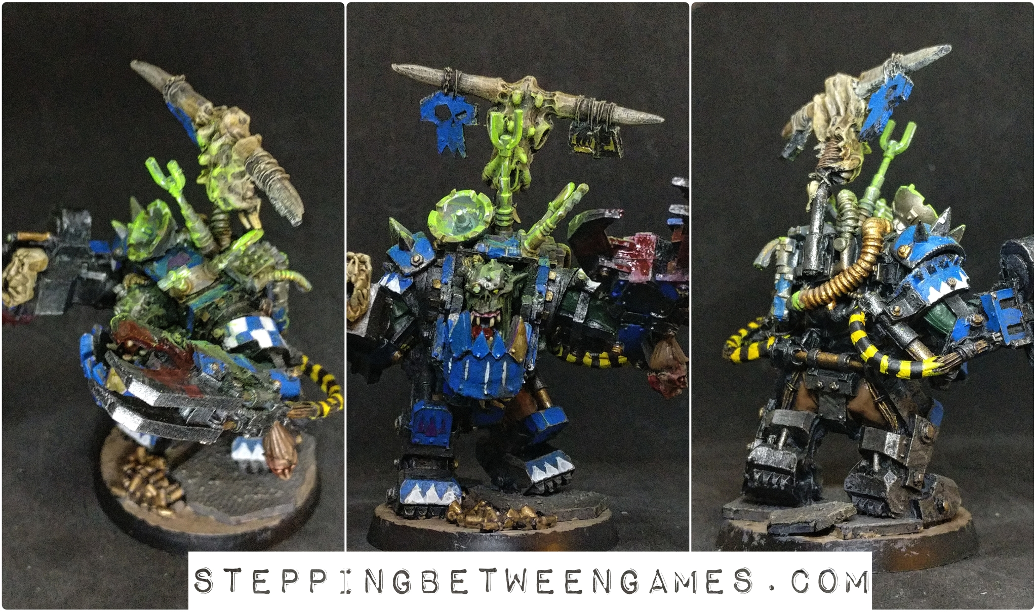 Ork Warboss to Big Mek conversion with KFF painted