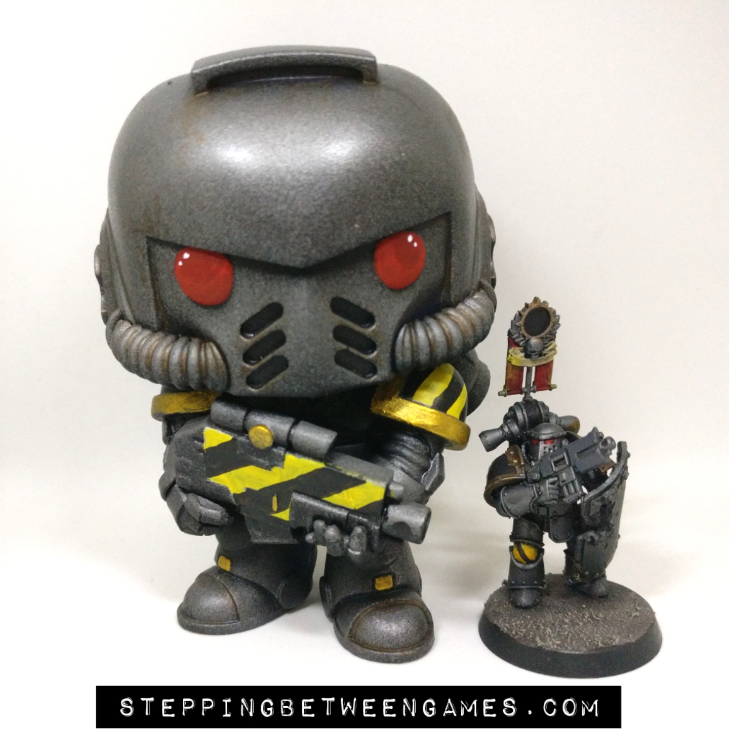 Iron Warriors Funko Pop size against 28mm marine