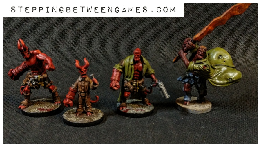 Hellboy the Boardgame: Painted miniatures hellboys