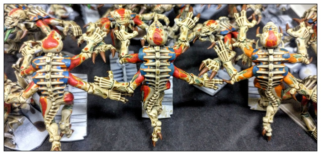 Three Genestealers from Space Hulk from the back